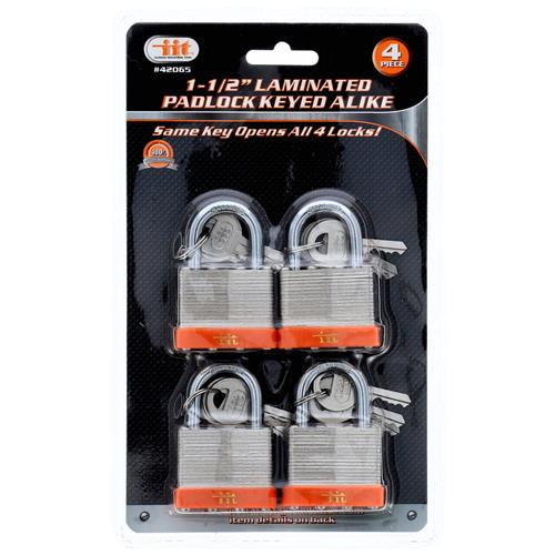 "Wholesale 4PC 1-1/2"""" Laminated Padlock Keyed Alike"
