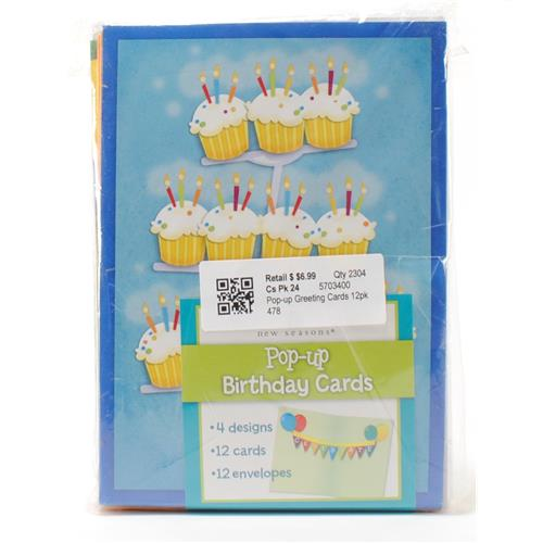 "Wholesale Pop-Up Birthday Cards with Envelopes 5""x7"" 4 Designs - 12-Pack"