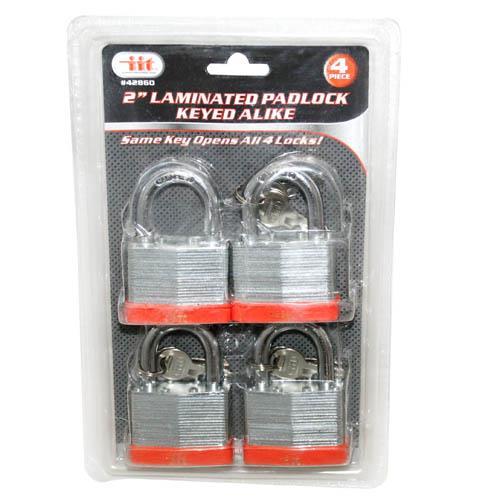 """Wholesale 4PC 2"""" Laminated Padlock Keyed Alike"""