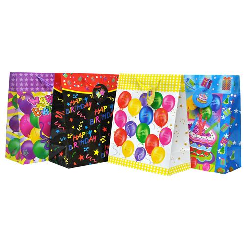 Wholesale Large Birthday Glossy Gift Bag Assorted