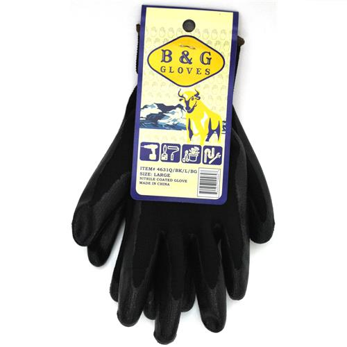 Wholesale Black with Black Nitrile Coated Large Gloves