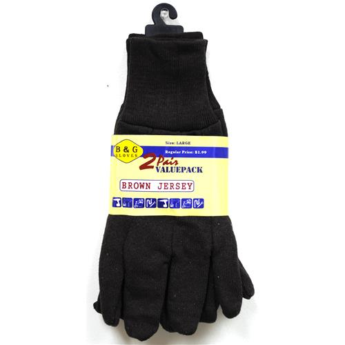 Wholesale Brown Jersey Glove 2 Pair Value Pack