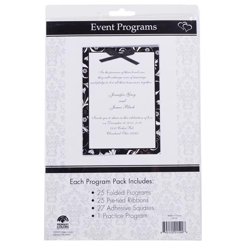 Wholesale Black & White Wedding Event Programs