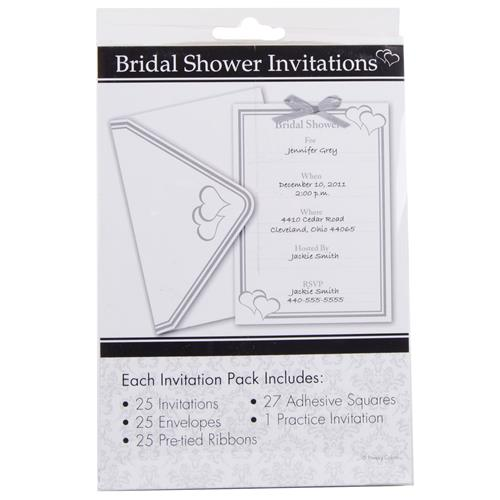 Wholesale White & Silver Bridal Shower Invitations