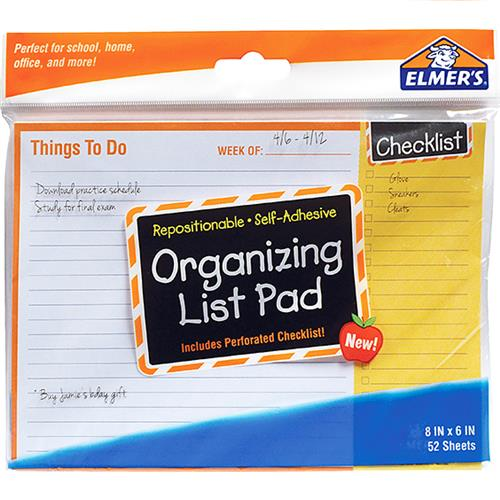 Wholesale Elmer's Organizing List Notes 52 Seets.