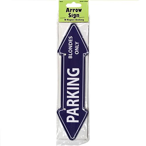 "Wholesale ""Parking Blondes Only"" Arrow Sign Metal Magnet 2"" X 7.75"""