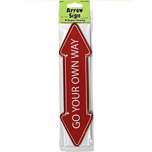 "Wholesale ""Go Your Own Way"" Arrow Sign Metal Magnet 2"" X 7.75"""