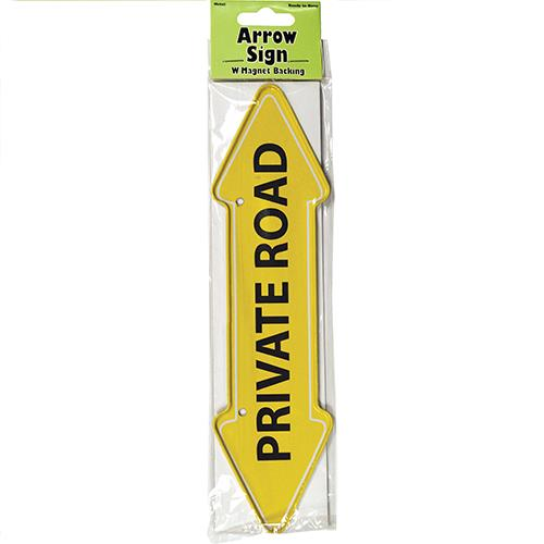 "Wholesale ""Private Road"" Arrow Sign Metal Magnet 2"" X 7.75"""