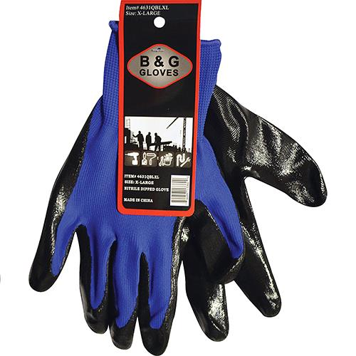 Wholesale BLUE NITRILE DIPPED GLOVE -XL