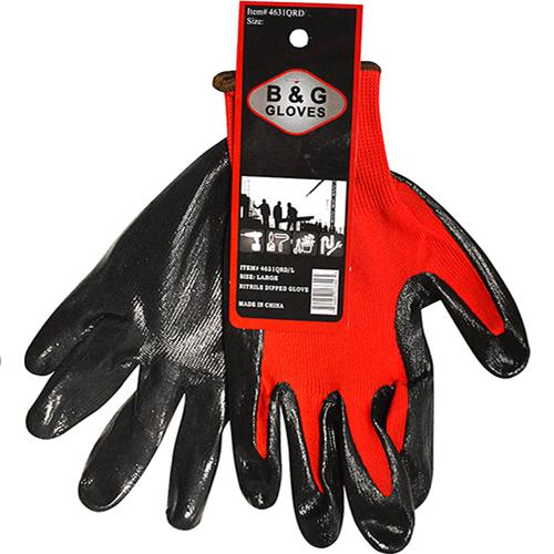 Wholesale RED NITRILE DIPPED GLOVE XL