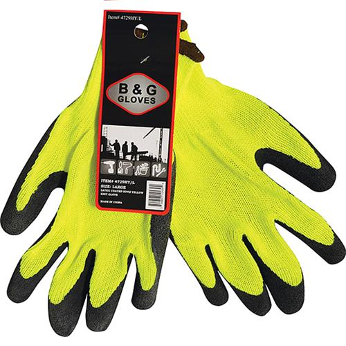 Wholesale HI-VIS YELLOW LATEX DIP GLOVE