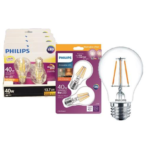 Wholesale 2PK 6=40W A19 CLEAR DIMMABLE B