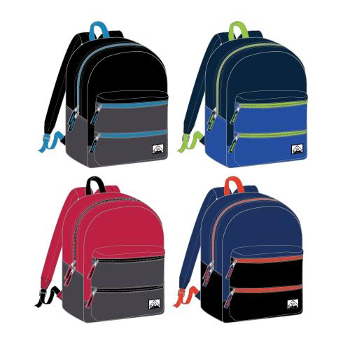 "Wholesale Backpack 17"" x 12"" x 5.5"" Boys or Men Multi-Color 4 Assorted Colors"