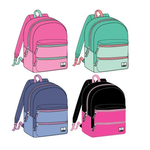 "Wholesale Backpack 17"" x 12"" x 5.5"" Girls or Women Multi-Color 4 Assorted Colors"