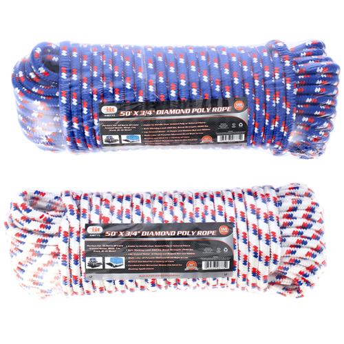 "Wholesale 50' X 3/4"""" Diamond Poly Rope"