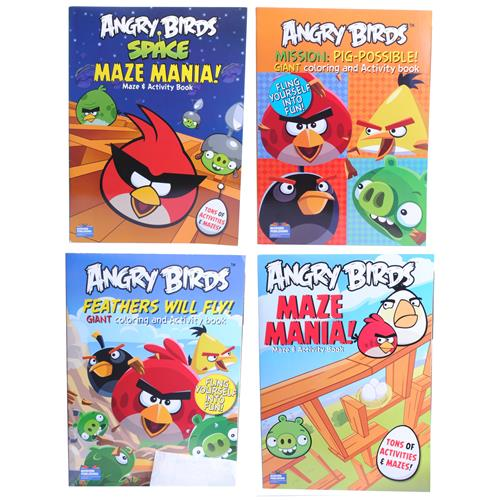 Wholesale Angry Birds Color Activity and Maze Books 4 Assorted in PDQ
