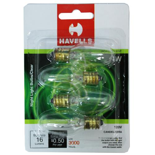 Wholesale 4PK NIGHT LIGHT BULBS CLEAR 4W