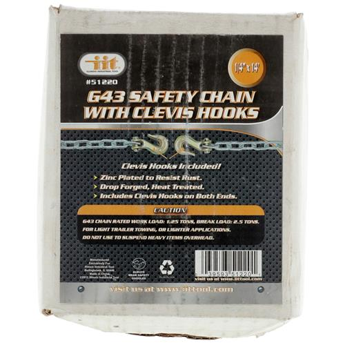 """Wholesale 1/4"""" X 14' G43 Saftey Chain With Hooks"""