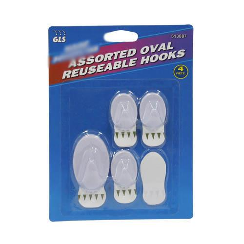 Wholesale Oval hooks - 1 medium hook plus adhesive back & 3 mini hooks plus 4 backs.