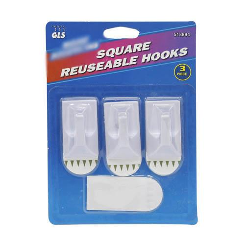 Wholesale Medium Retangular Reusable Hooks 3 ct and 4 removable adhesive strips.
