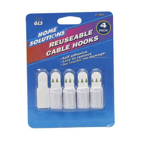 Wholesale Reusable Cable Hooks 4 pack plus one