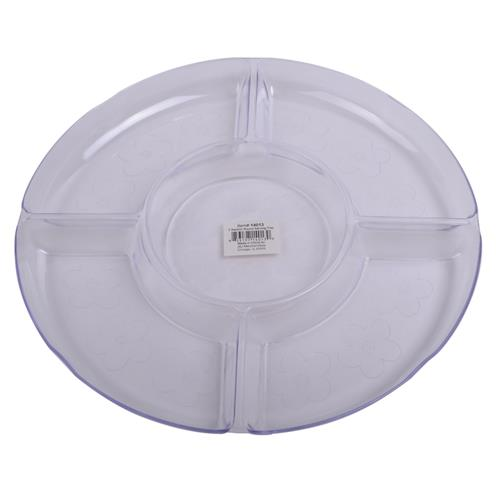 "Wholesale Styrene 5 Section Round Serving Tray 12.5"" x 1.2"" with Flower Imprint Design"