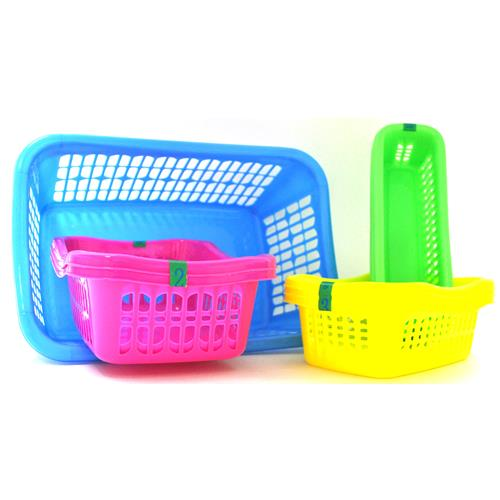 Wholesale Plastic Baskets Display 4 Rectangle Sizes Assorted Colors
