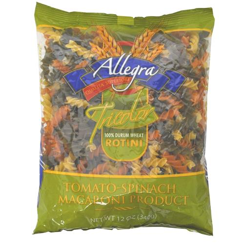 Wholesale Allegra Tri-Color Rotini - Tomato/Spinach/Reg whit