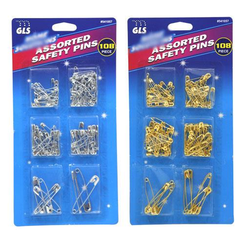 Wholesale 108pc Assorted Safety Pins