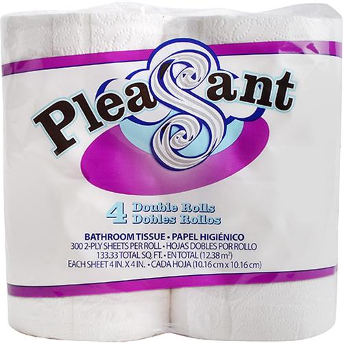Wholesale 4pk Pleasant Bath Tissue Double Roll 300 sheet 2ply