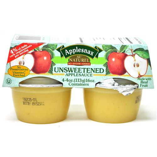 Wholesale Applesnax Applesauce Unsweetened 4oz Cup