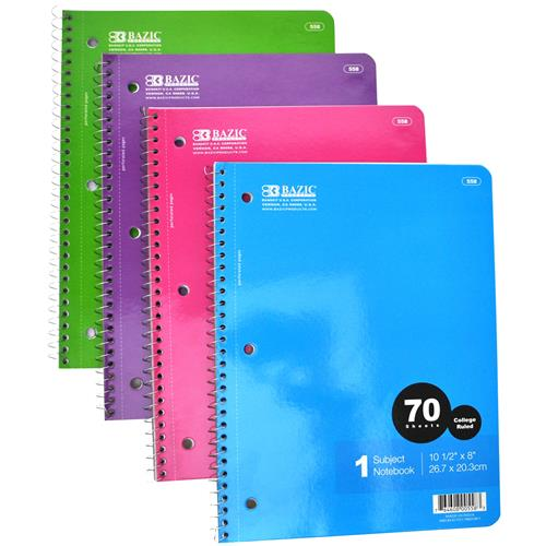 Wholesale Notebook - 70 Sheets - College Ruled - Bazic