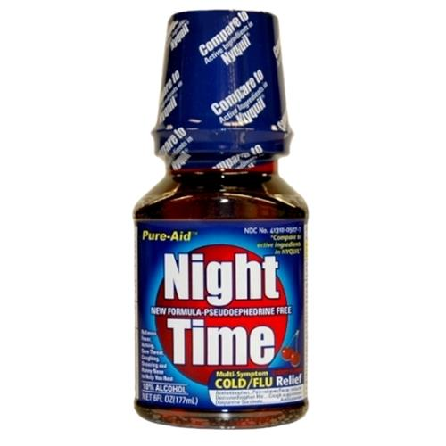 Wholesale Pure-Aid Night Time Multi-Symptom Cold/Flu Cherry (Nyquil)