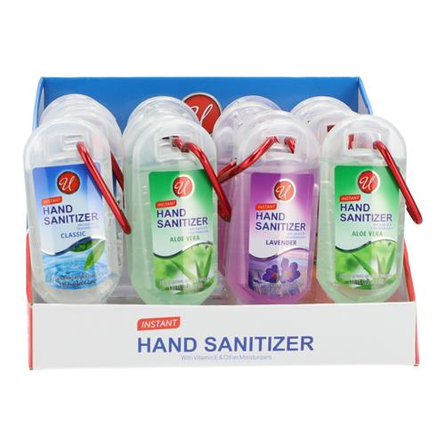 Wholesale 1.85OZ HAND SANITIZER WITH CARABINER CLIP 4 SCENTS