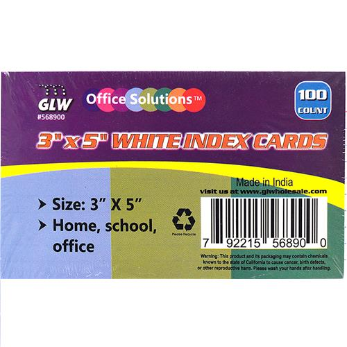 "Wholesale 100CT 3x5"" INDEX CARDS WIDE RU"