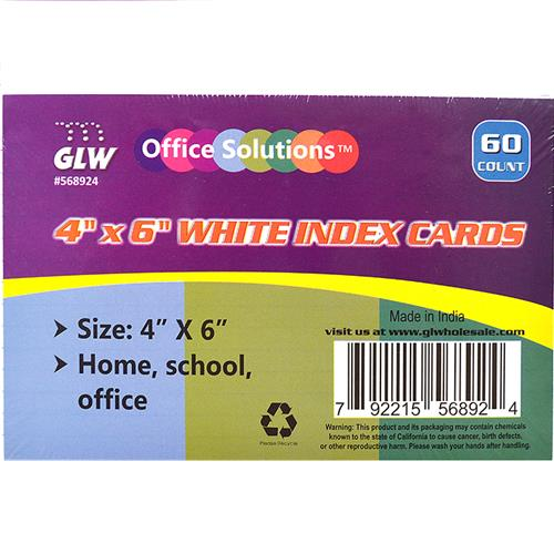"Wholesale 60ct 4x6"" INDEX CARDS WIDE RULED"