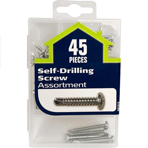Wholesale 45pc Self-Drilling Sheet Metal Screws Assorted