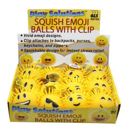 Wholesale SQUISH EMOJI BALLS w/ CLIP