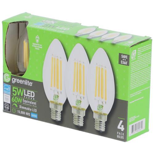 Wholesale 4PK 5=60W LED CHANDALIER BULB DAYLIGHT
