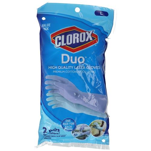 Wholesale 2 PAIR CLOROX LATEX GLOVE DUO COTTON FLOCK LINED
