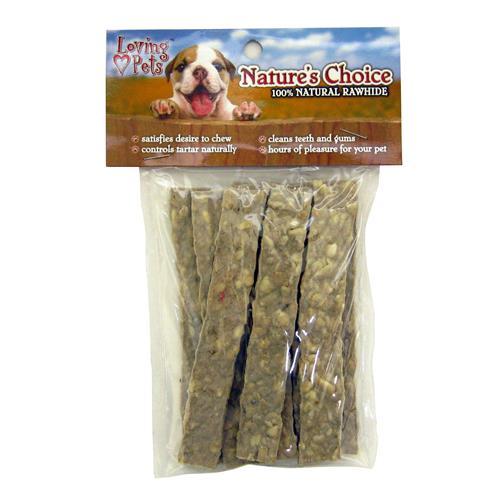 "Wholesale Nature's Choice Rawhide Flat Munchy Strips 10pk 5"""""