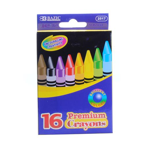 Wholesale 16 pc Premium Color Crayons in Peggable Box