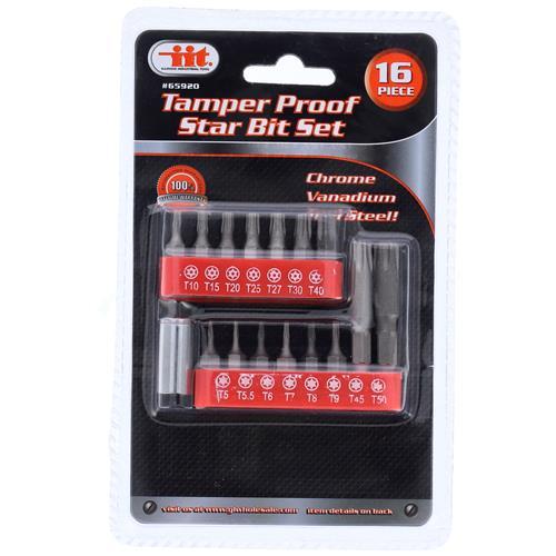 Wholesale 16Pc Tamper Proof Star Bit Set