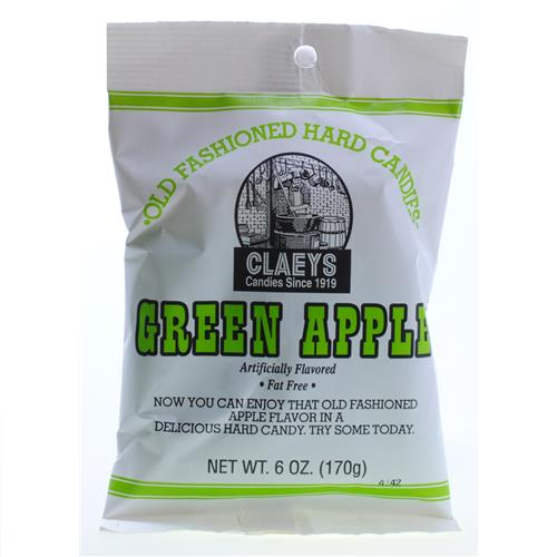 Wholesale Claeys Green Apple Hard Candy - Peg Bag
