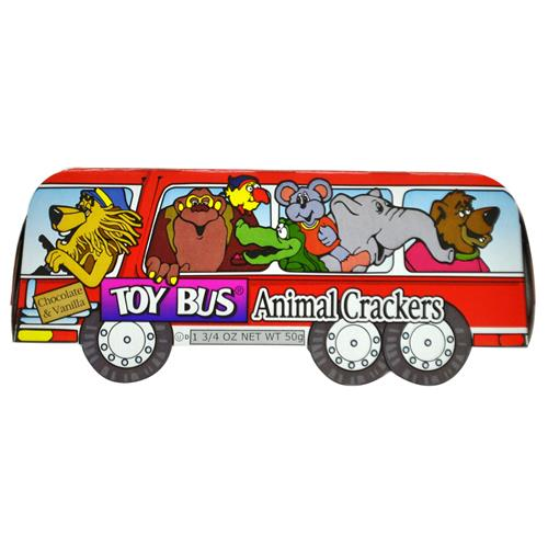 Wholesale Animal Cracker in Toy Bus Chocolate & Vanilla Flavor