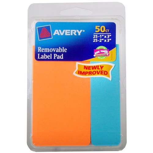 "Wholesale Avery Removable Label Pad 25 each 1"" x 3"" & 2"" x 3"""
