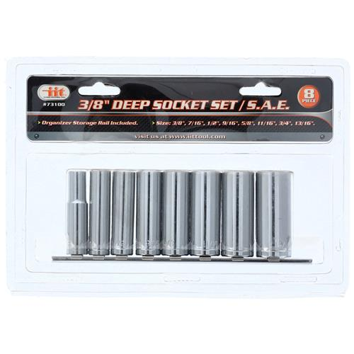 "Wholesale 8pc 3/8"" Dr. Deepwell Socket Set SAE"