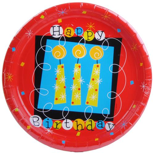 "Wholesale Happy Birthday Plate Red with Candles 10.5"" Round"