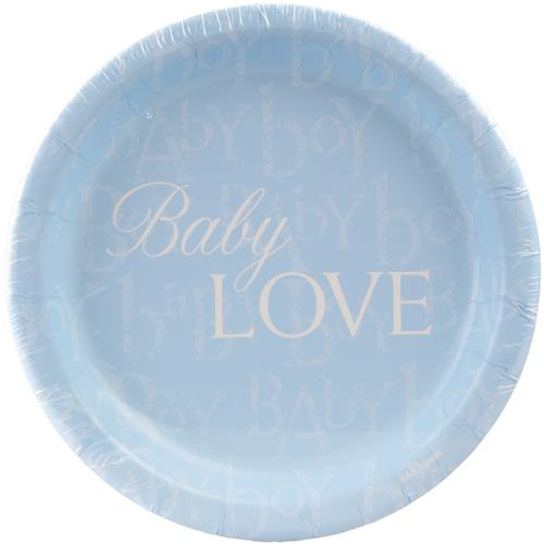 "Wholesale Baby Love 6.75"""""""" Paper Plate - Blue - Boy"