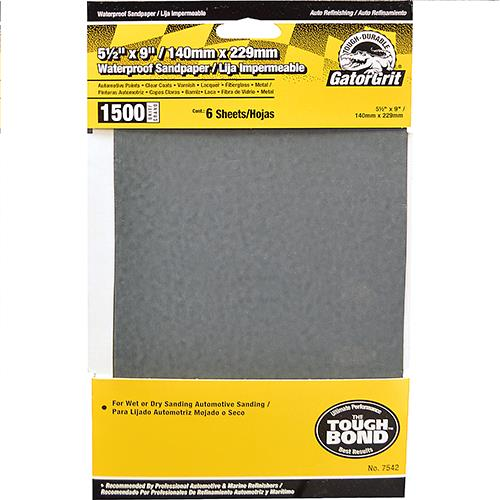 Wholesale 6pk 5.5x9 SANDPAPER 1500 GRIT